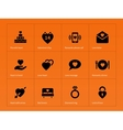 love icons on orange background vector image vector image