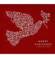 Merry christmas happy new year outline dove deco vector image vector image