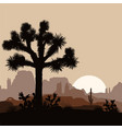 morning landscape with joshua tree and mountains vector image vector image