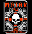 motorcycle poster design skull fashion tee graphic vector image vector image