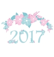 numbers 2017 with blue and pink flowers vector image