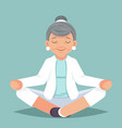 old woman grandmother doing yoga exercises happy vector image