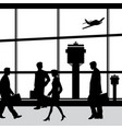 people in airport lounge silhouettes vector image vector image