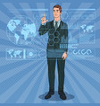 pop art businessman using holographic interface vector image vector image