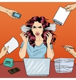 Pop Art Screaming Angry Business Woman vector image vector image