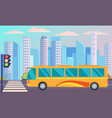 public transport bus on background city stands vector image vector image