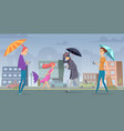 rain in city people walking with umbrella in vector image vector image