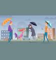 rain in city people walking with umbrella vector image