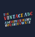 retro slanted font and alphabet vector image