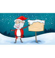 santa claus and board vector image vector image