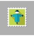 Scarecrow flat stamp with long shadow vector image
