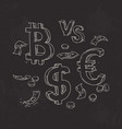 set of bitcoin the dollar against the euro vector image