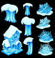 set of ice figurines isolated on black background vector image