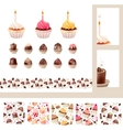 Set with different muffins and sweetmeats vector image vector image