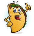taco cartoon character giving a thumbs up vector image vector image