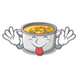 tongue out cartoon homemade stew soup in the pot vector image vector image