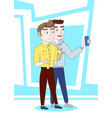 two young men taking selfie photo together make vector image
