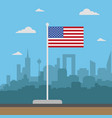 usa flag flat style vector image vector image