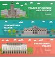 Warsaw tourist landmark banners vector image vector image