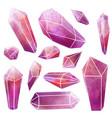 watercolor gems set pink crystals wet texture vector image