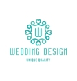 Wedding logo design turquoise with hearts and the vector image vector image