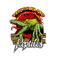 world reptiles logo with a dangerous lizard in vector image vector image