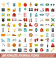 100 athlete journal icons set flat style vector image vector image
