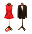A suit and a formal dress on mannequins with red vector image
