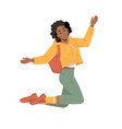 afro american woman with backpack jump hands up vector image vector image