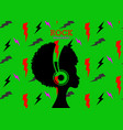 afro girl listens to rock music on headphones vector image