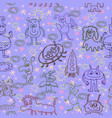 alien happy cute monsters seamless pattern vector image