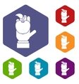 Apple in hand icons set vector image