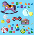 baby different toys icon set vector image vector image