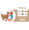 banner farmer with linear icons set vector image vector image