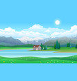 beautiful landscape with house on lake forest and vector image vector image