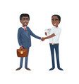 black businessmen shaking hands vector image