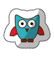 blue stylized owl icon vector image vector image