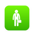businessman standing with his briefcase icon vector image