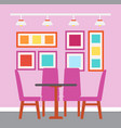 cafe interior table with pink chairs eatery design vector image vector image
