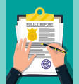 clipboard with police report and pen in hand vector image vector image