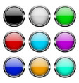 colored glass 3d buttons with chrome frame round vector image vector image