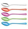 colorful set metal and plastic spoons vector image vector image