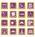 construction icons set purple vector image vector image