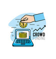 crowdfunding project support business service vector image vector image