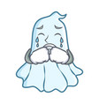 crying cute ghost character cartoon vector image vector image