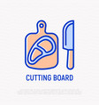 cutting board with steak thin line icon vector image