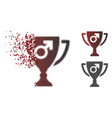 damaged pixelated halftone male power award cup vector image vector image