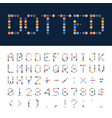 dotted font alphabet retro or pop style vector image vector image