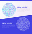 drone delivery concept in circle vector image vector image
