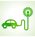 Electric car with green tree concept vector image vector image